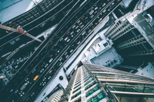 miasto, zima, ulica, auta